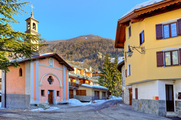 Town square and small chapel in Limone Piemonte.