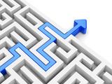 Fototapety Blue arrow path across labyrinth