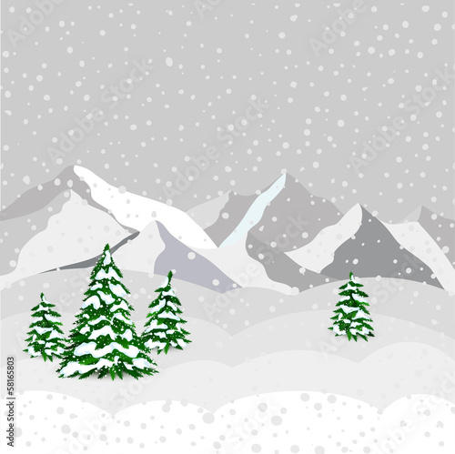 Winter landscape, mountain and forest in vector