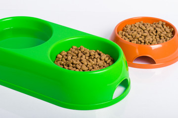 pair of bowls with cat food