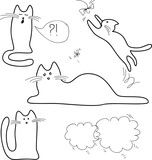 black and white sketches, doodle, cats