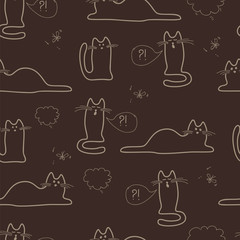 seamless pattern with sketches of cats in coffee colors