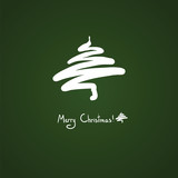 Simple Christmas tree, blob, icon, white on green, sketch, card