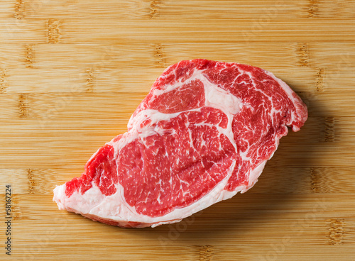 Raw aged beef ribeye steak
