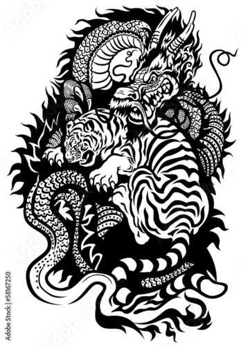 dragon and tiger black and white