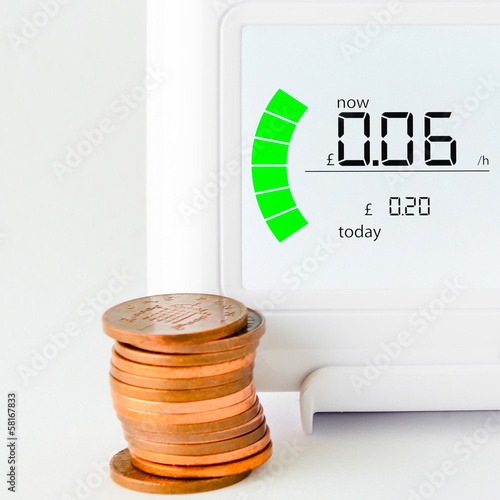 House energy meter showing the cost per hour for electricity usa