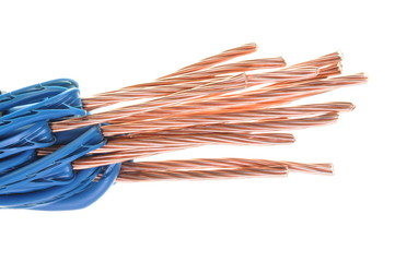 Electric cables isolated on a white background