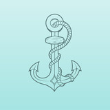 Nautical anchor with rope isolated on green background.
