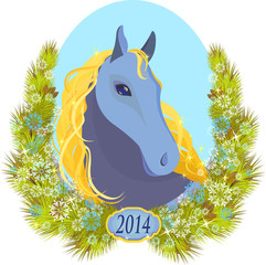 vector illustration of a horse wearing a crown