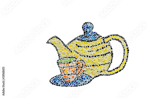 mosaic  teapot and cup