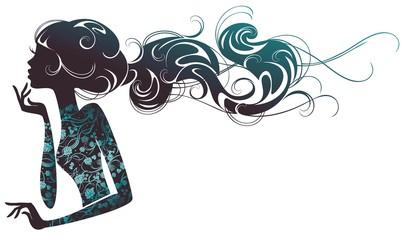 Силуэт девушки с развевающимися прядями волос