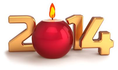 New 2014 Year Christmas candle flame burning decoration
