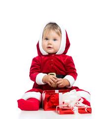 x-mas baby girl opening gift box isolated