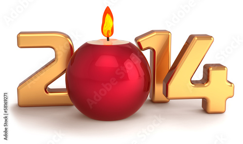 New 2014 Year Christmas candle flame burning decoration