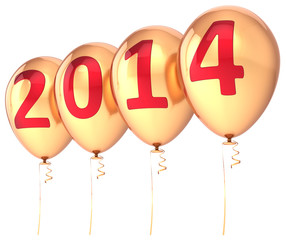 New Year 2014 balloons gold party holiday decoration wintertime