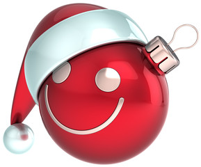 New Year smiley face Christmas ball red Happy Santa