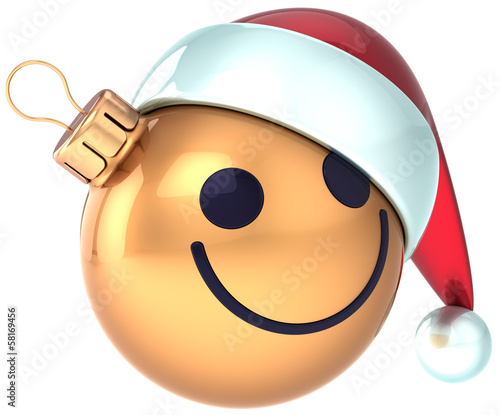 Christmas ball smiley face gold Happy New Year Santa