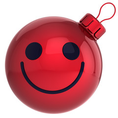 Smiley Christmas ball red Happy New Year bauble smile