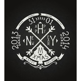 New year and merry christmas retro lettering chalkboard on black