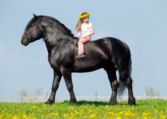 Child riding a horse in field