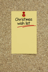 Christmas wish list. Cork board