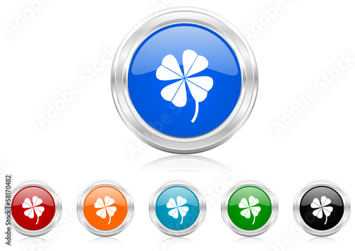 four-leaf clover icon vector set