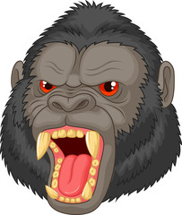 Angry gorilla head character