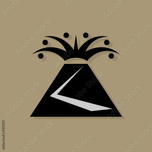 Volcano icon or sign, vector