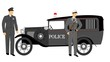 vintage police car with officers standing near