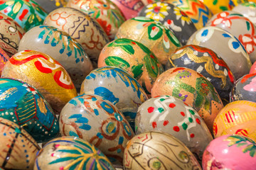 Easter eggs in many different colors