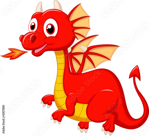 Cute red dragon cartoon