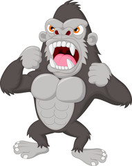 Angry gorilla cartoon character