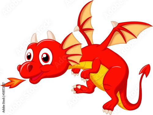Cute dragon cartoon - 58172027