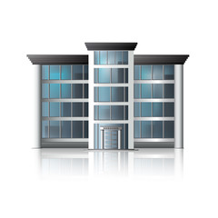 office building with reflection and input