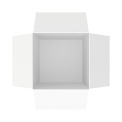 the bottom of an empty white box