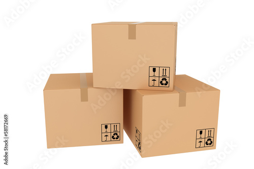 Several closed cardboard boxes