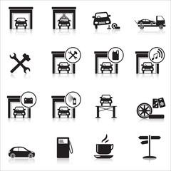 Icons garage: washing, painting, tire