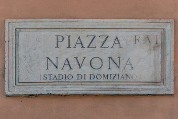 Roma, targa in marmo