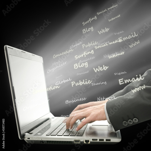 Surfing the World Wide Web on a laptop