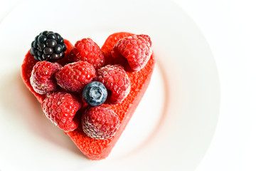 Colorful heart-shaped cake