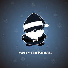 Vector Santa on blue background with snowflakes