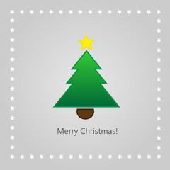 Christmas greeting card with xmas tree