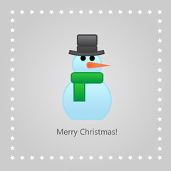 Christmas greeting card with a snowman