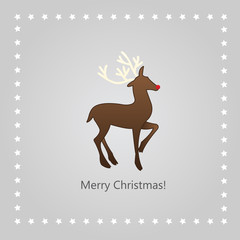 Christmas greeting card with a deer