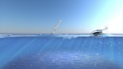 animated concept background with skipping stone