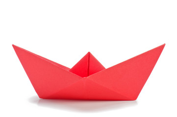 Red origami ship  side