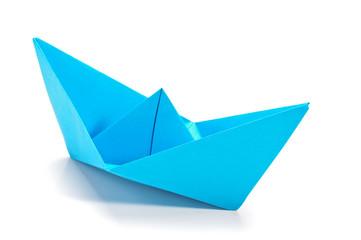 Blue origami ship