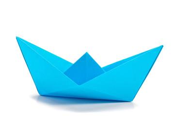 Blue origami ship  side