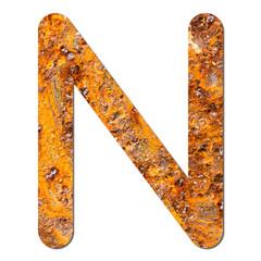 Font rusty steel texture alphabet N