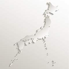 Japan map card paper 3D natural